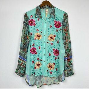 Cyrena Turquoise Flower Embroidered Button Down